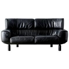 """Bull"" Black Leather Settee Sofa by Gianfranco Frattini for Cassina, 1987"