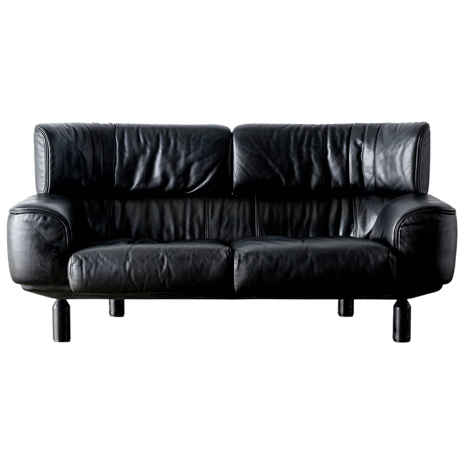 "Bull"" Black Leather Settee Sofa by Gianfranco Frattini for Cassina"
