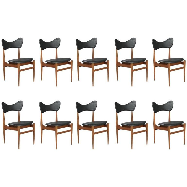 Wonderful Set of Ten Butterfly Teak Dining Chairs Inge and Luciano Rubino
