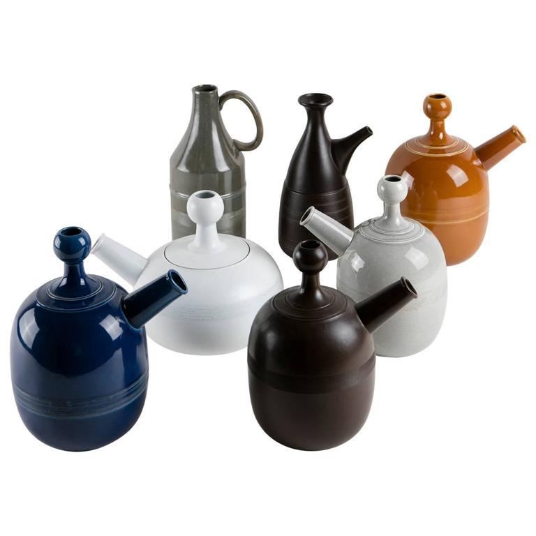 Unique Set of Seven Ceramic Carafes by Ambrogio Pozzi for Pozzi For Sale