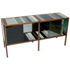 Contemporary Cabinet 'Wood Glass 16' Thomas Lemut in Rosewood Walnut and Glass