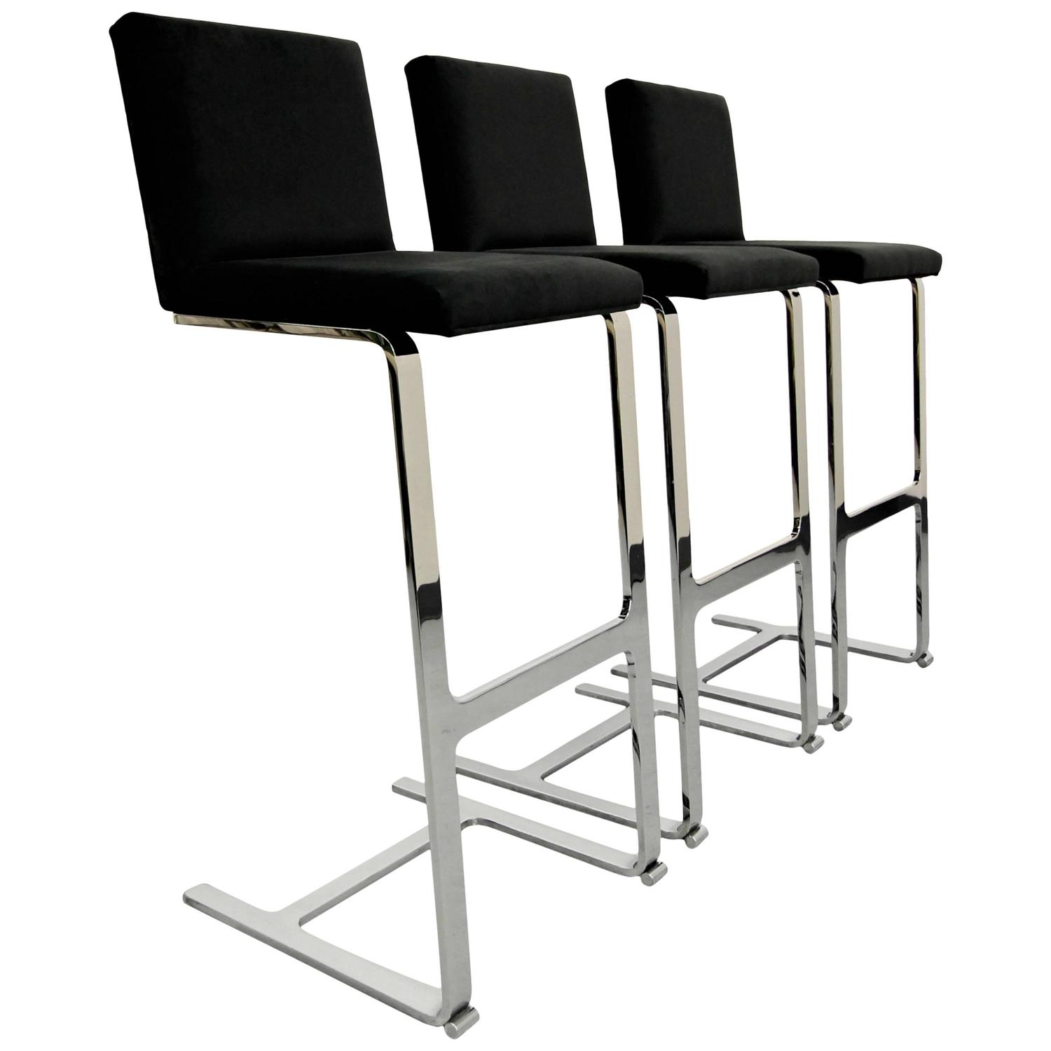Chrome Counter Height Cantilever Bar Stool For Sale At 1stdibs
