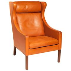 Danish Armchair Designed by Børge Mogensen in Orange Leather