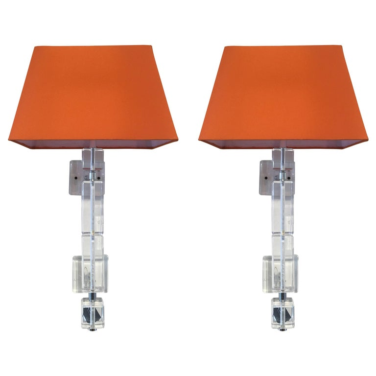 Pair of Vintage Lucite Wall Sconces For Sale