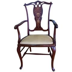 Edwardian Mahogany and Satinwood Inlaid Desk Chair