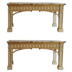 Very Rare Pair of Neo-Gothic Console Tables
