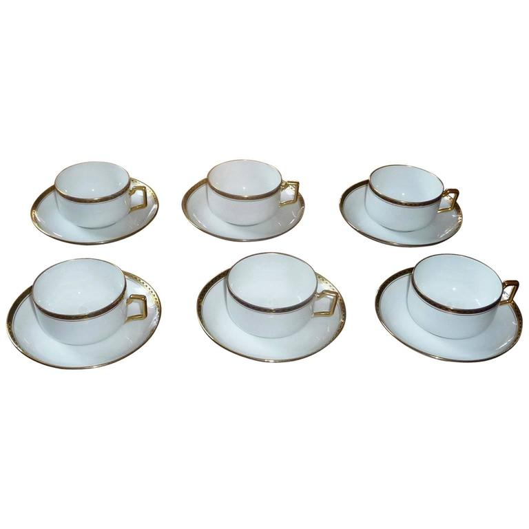 Fine Limoges Porcelain Coffee Service Set of Six Cups by Legrand France For Sale  sc 1 st  1stDibs & Fine Limoges Porcelain Coffee Service Set of Six Cups by Legrand ...
