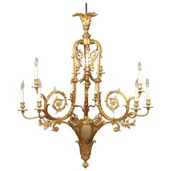 Exceptional Early 20th Century Gilt Bronze Fifteen-Light Chandelier