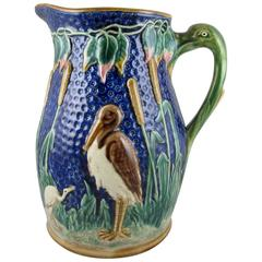 Monumental English Majolica Wading Birds in a Cattail Marsh Ewer