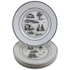 H. Boulenger Choisy-le-Roi Transferware Rebus Picture Puzzle Dessert Plates S/6