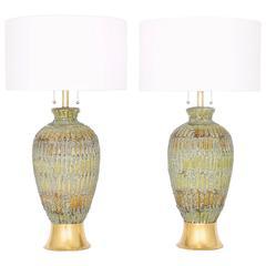 Restored Pair of Mid-Century Modern Drip Lava Glaze Lamps
