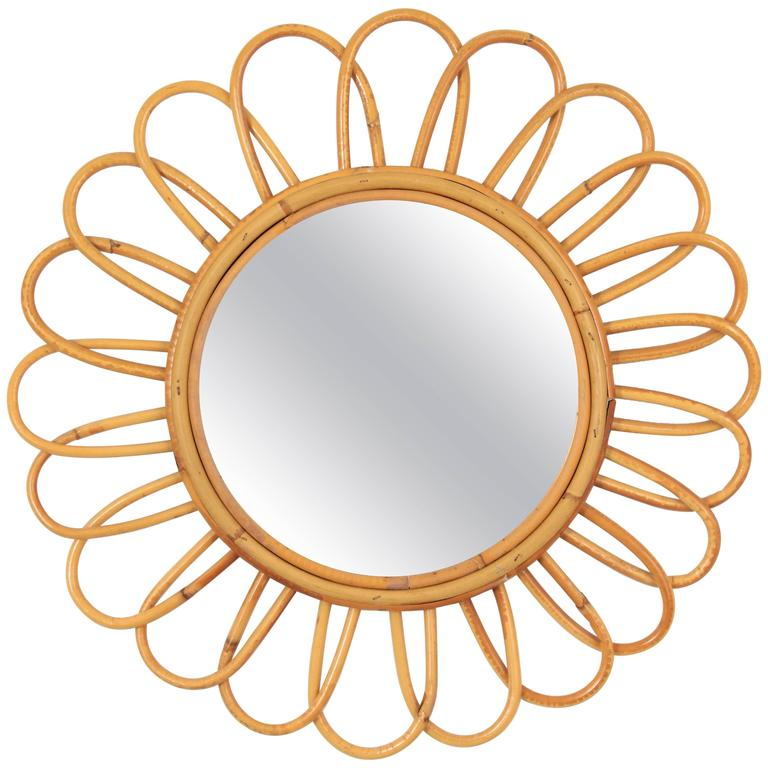 1960s Spanish Handcrafted Bamboo Flower Shaped Mirror