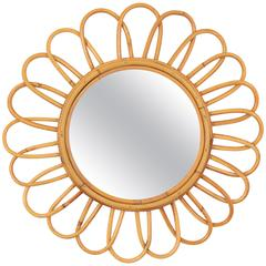 1960s Spanish Bamboo Flower Burst Mirror