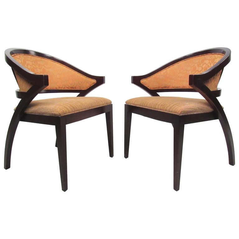 Mid Century Modernist High Back Or Desk Chair W New: Pair Of Gunlocke Chairs In Walnut With Suede Upholstery At