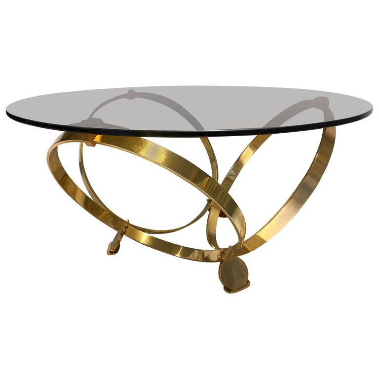 knut hesterberg round tinted glass coffee table on brass frame at 1stdibs. Black Bedroom Furniture Sets. Home Design Ideas