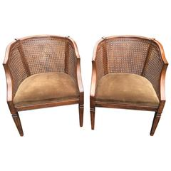 Traditional Pair of Carved Wood, Caned and Velvet Library Chairs