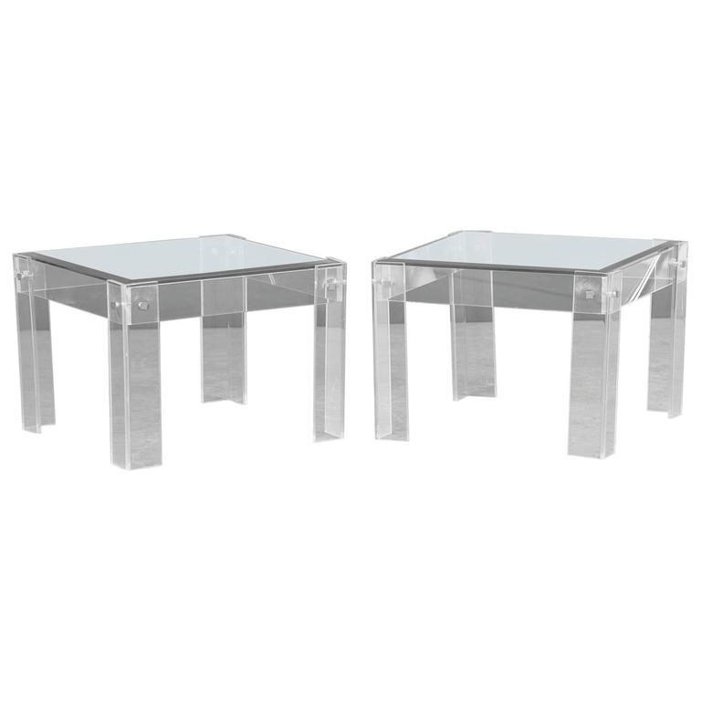 Pair of Vintage French Perspex Lucite and Glass Tables, circa 1980