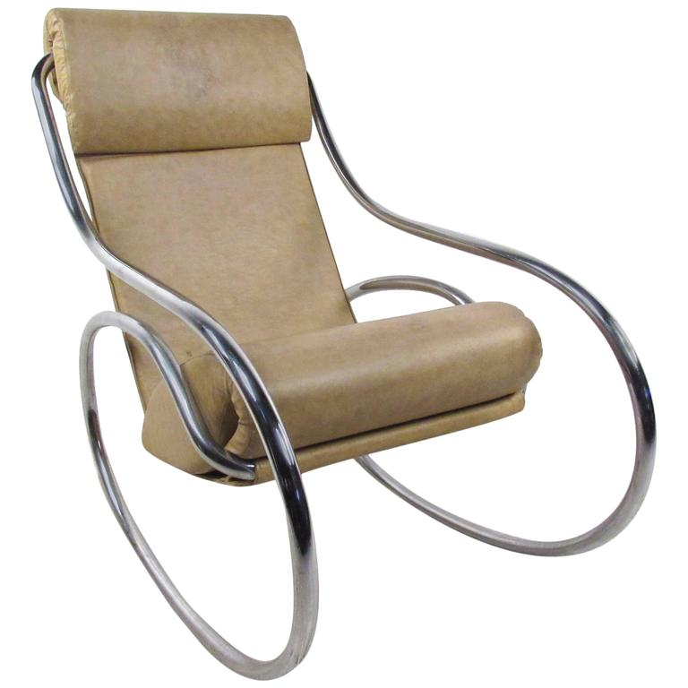 Mid Century Modern Tubular Chrome Rocking Chair For Sale