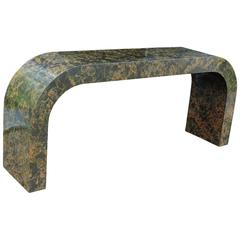 Karl Springer Style Faux Tortoise Marbleized Waterfall Console Table