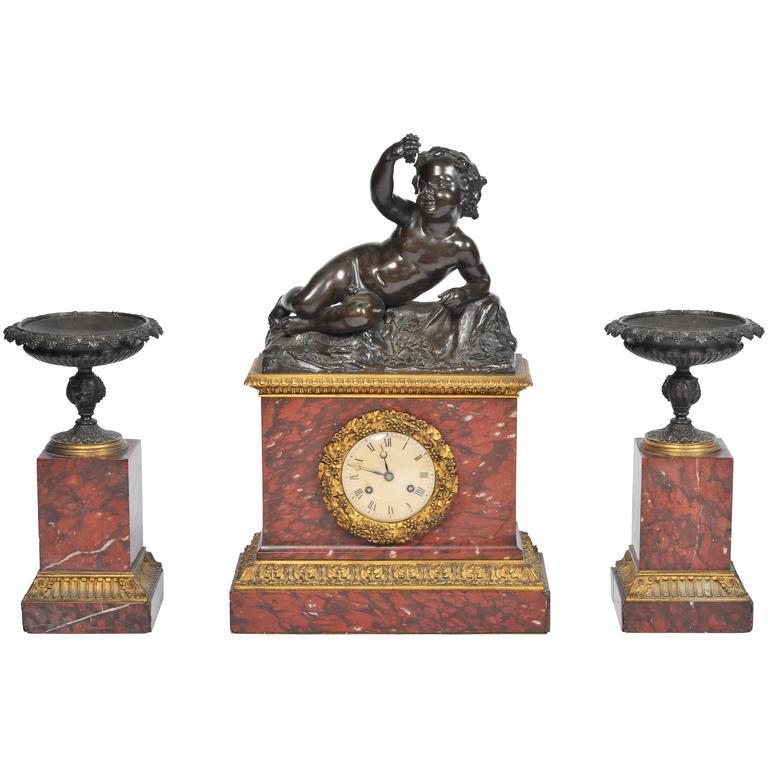 French 19th Century Marble Mantel Clock Set