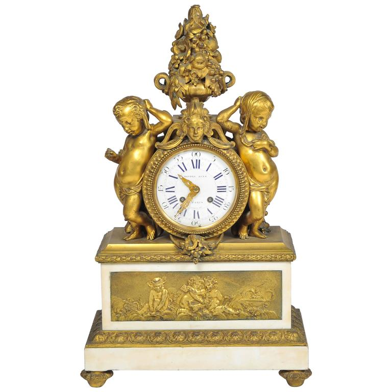19th Century French Mantel Clock, by 'Monbro Aine, Paris' For Sale