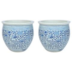 Pair of 19th Century Chinese Blue and White Jardinieres