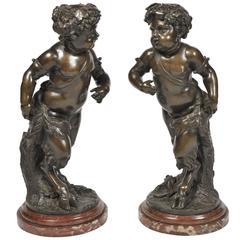Large Pair of 19th Century Bronze Putti