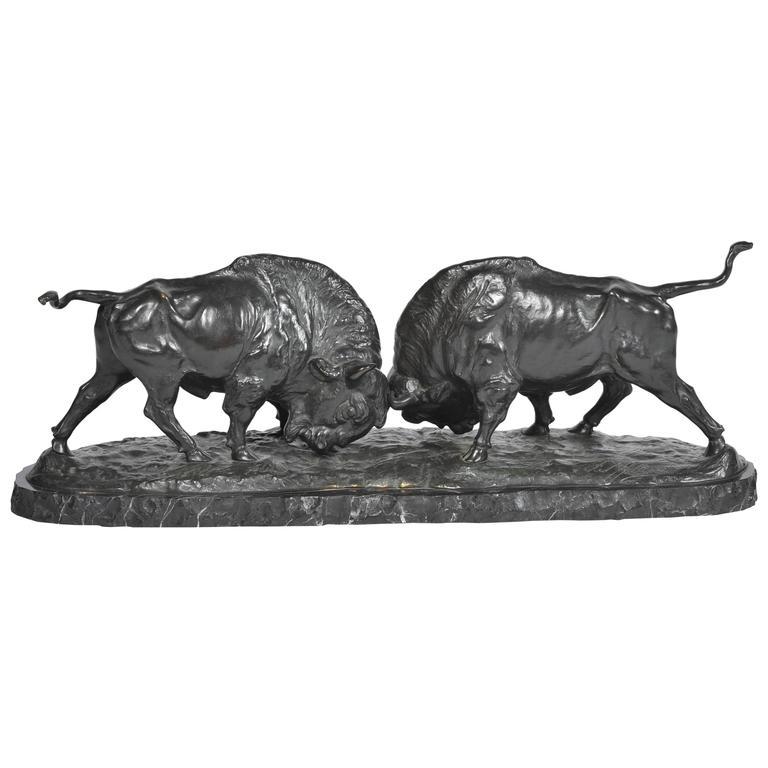 Bronze Bison Fighting