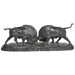 Bronze Bison Fighting
