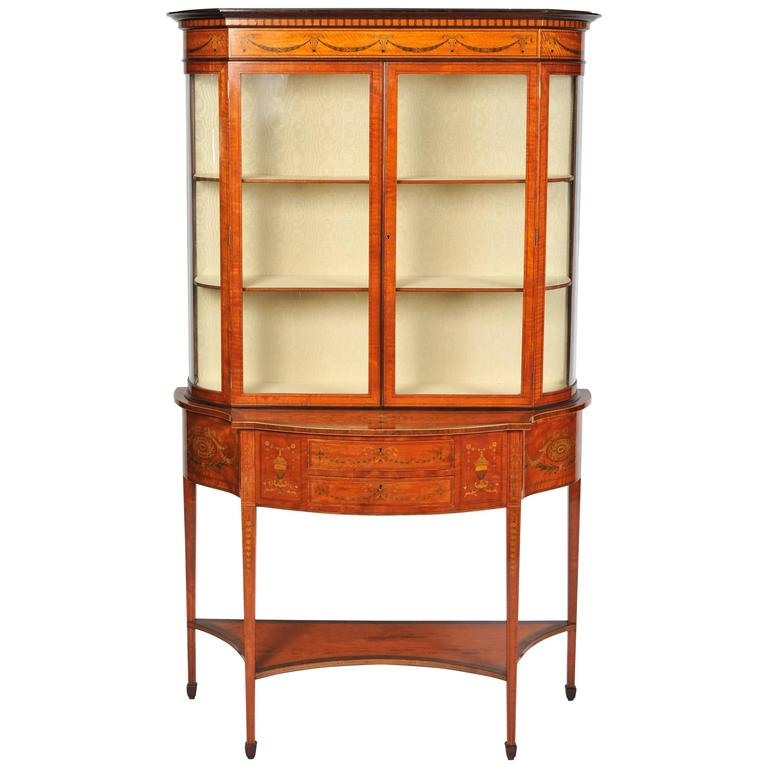 Satinwood Display Cabinet By Edwards And Roberts For Sale