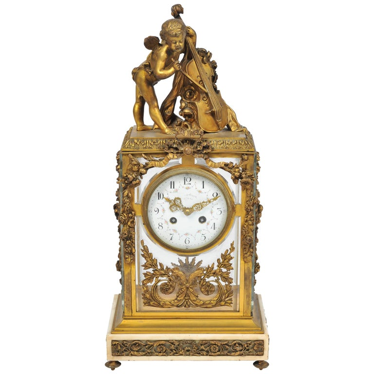 "19th Century Louis XVI style,  Mantel Clock 17""(43cm) For Sale"