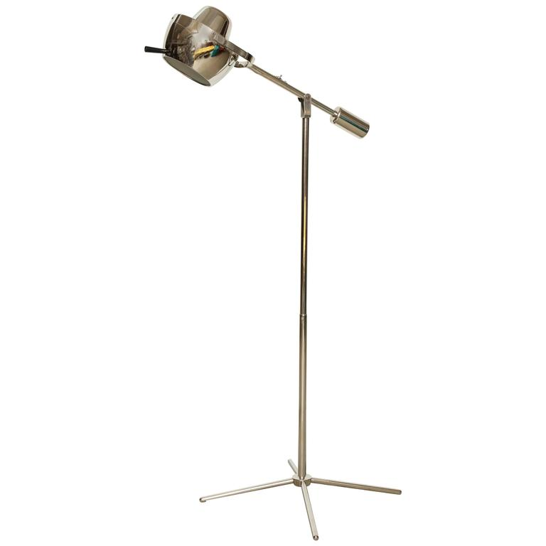 Chrome boom arm floor lamp for sale at 1stdibs for Tecton chrome floor lamp