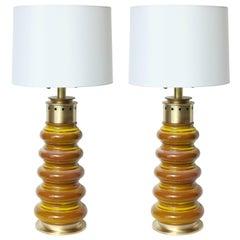 Stiffel Ochre Glazed Ceramic Lamps