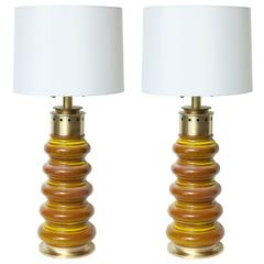 Stiffel Ochre Glazed Ceramic Lamps