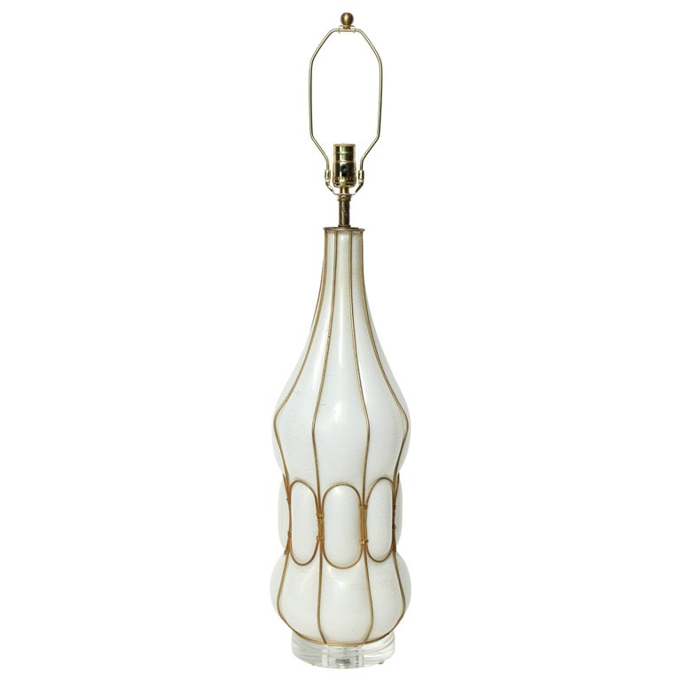 Marbro Caged White Murano Glass Lamp For Sale