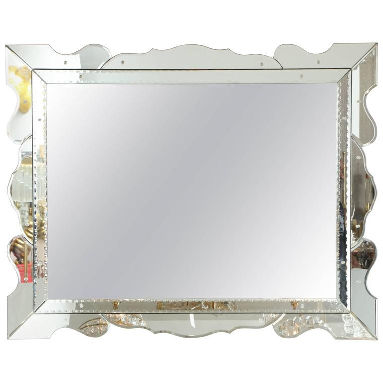 Italian 1950s Modernist Venetian Mirror For Sale