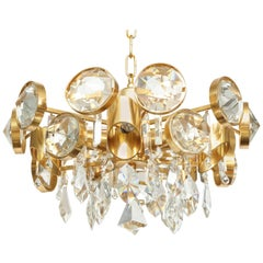 Ernest Palme Faceted Crystal and Gilt Brass Chandelier