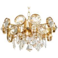 Ernest Palme Faceted Crystal and Gilt Brass Chandelier