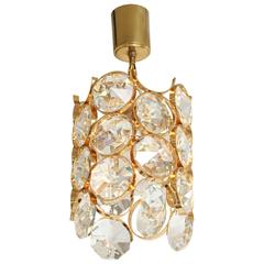 Ernest Palme Faceted Crystal and Gilt Brass Pendant