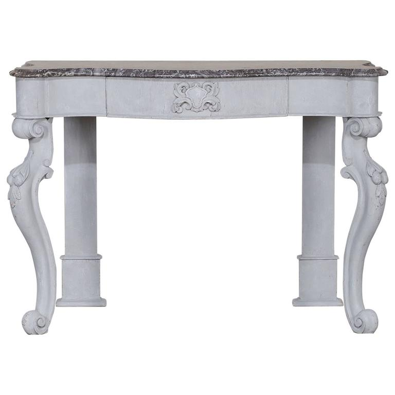 Antique English Painted Oak Console with Marble Top, circa 1850