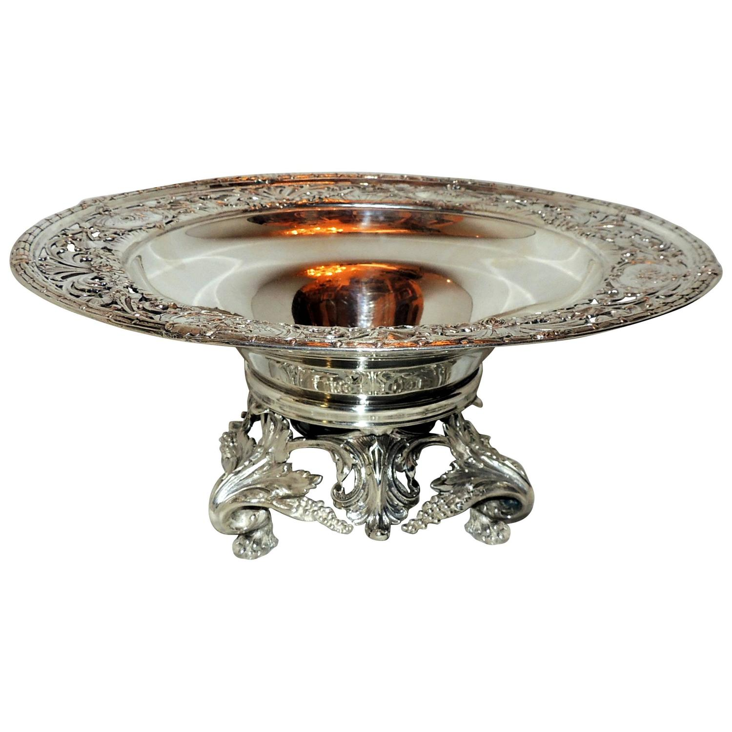 Monumental redlich and co sterling silver footed floral pierced bowl centerpiece for sale at - Footed bowl centerpiece ...