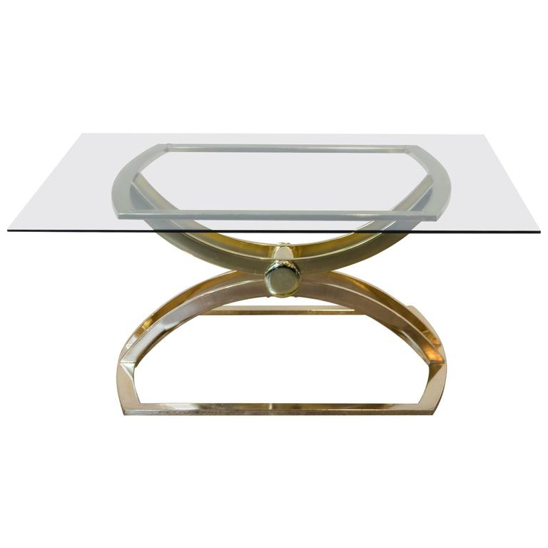 1970s Sculptural Brass-Plated Coffee or Cocktail Table
