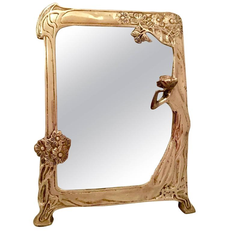 Vintage Brass Art Nouveau Vanity Mirror At 1stdibs