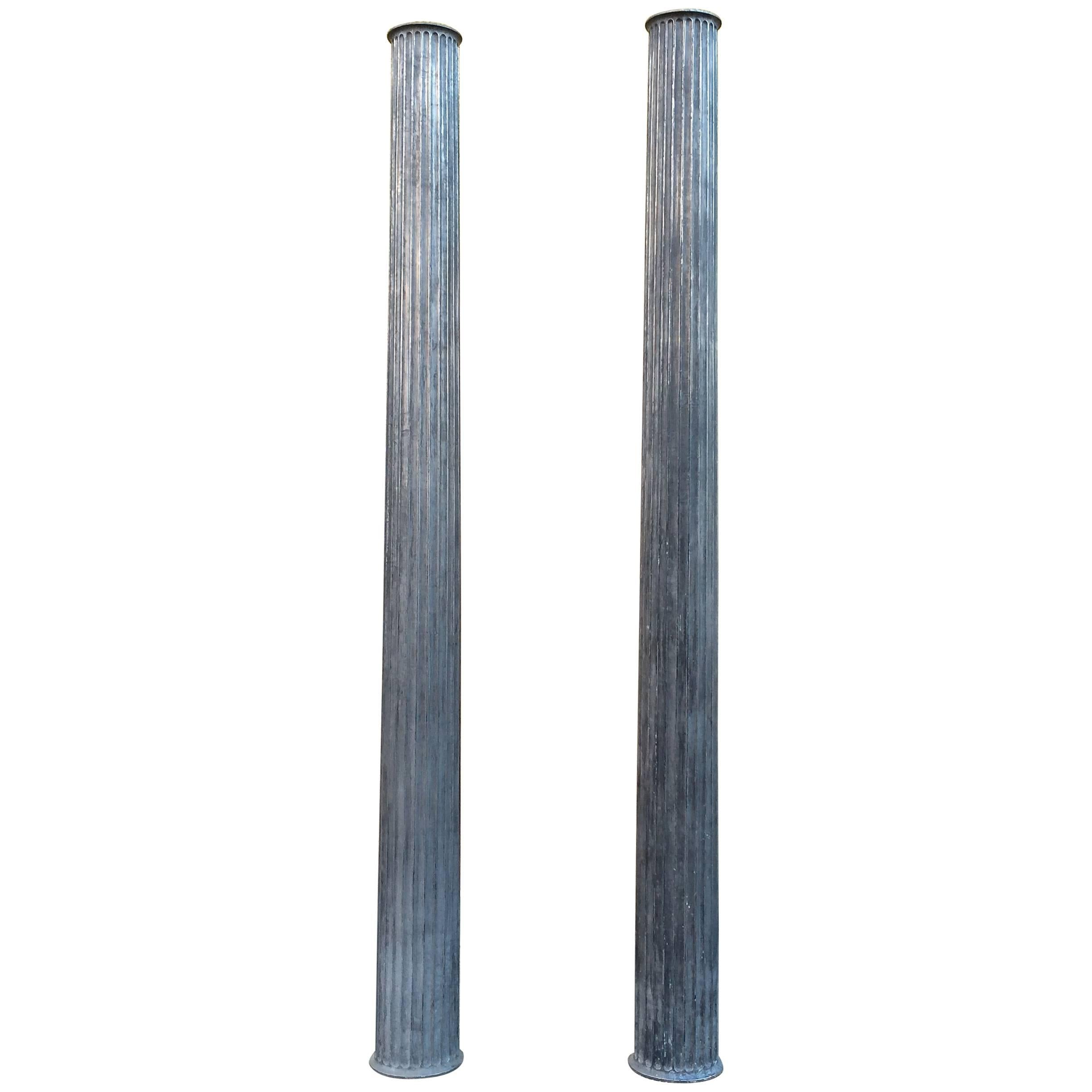 Pair of Architectural Gunmetal Steel Fluted Columns