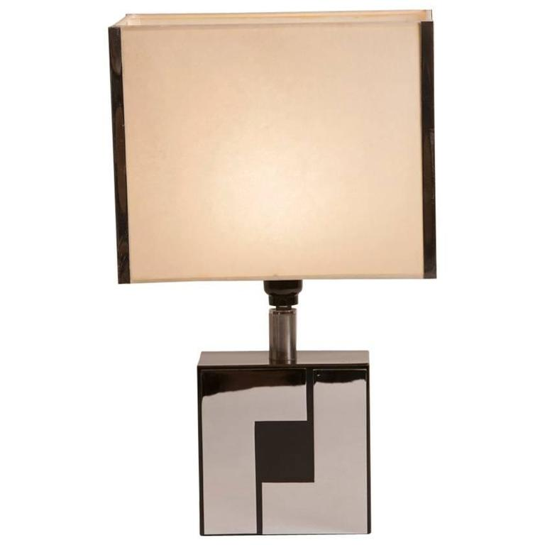 Mid Century Chrome and Black Lacquer Table Lamp in the Manner of Philippe Jean For Sale