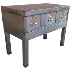 Mid-Century Brushed Steel Cabinet Console by Library Bureau Solemakers