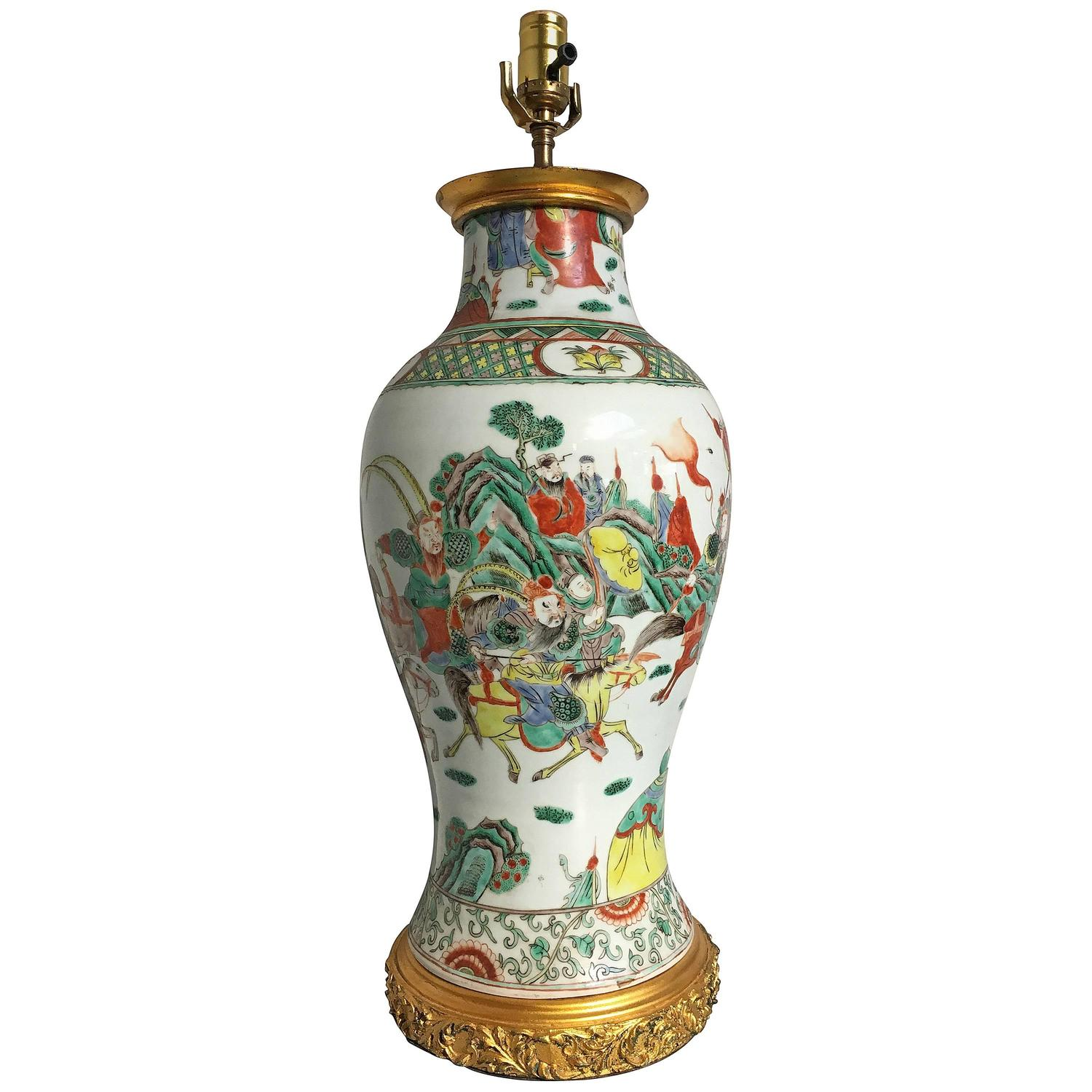 Chinese celadon porcelain vase table lamp for sale at 1stdibs chinese famille verte porcelain vase lamp geotapseo Images