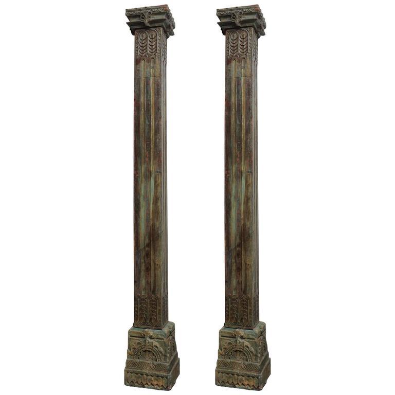 Pair of 19th Century Teak Columns with Original Paint