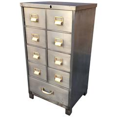 Brushed Steel Mid-Century Office Index File Cabinet