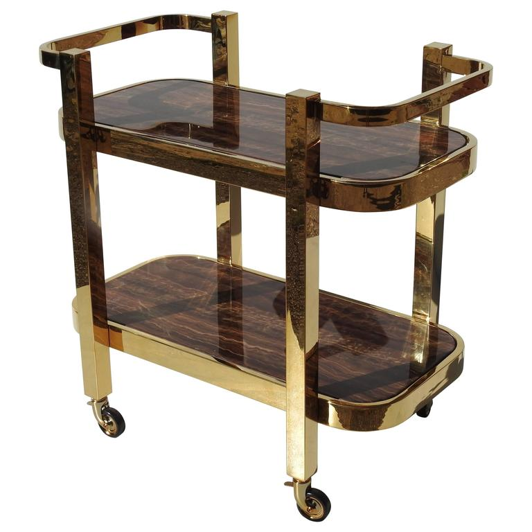 Modern Design Rolling Bar Cart With Marble Inserts At 1stdibs